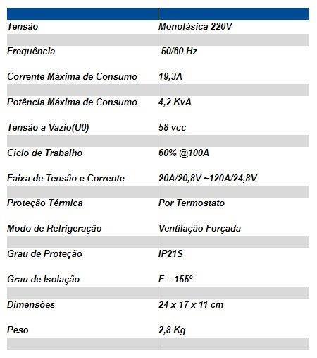 INVERSORA DE SOLDA ELETRODO MINI-120